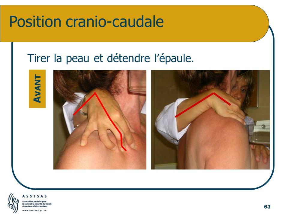 Tirer la peau et détendre lépaule. Position cranio-caudale A VANT 63