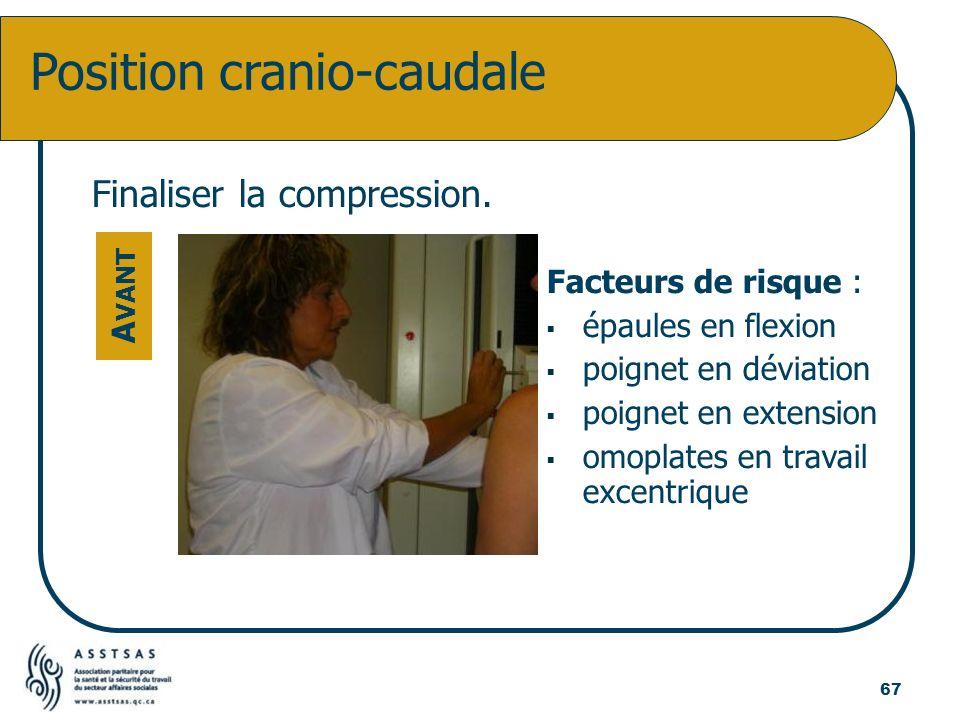 Finaliser la compression. Facteurs de risque : épaules en flexion poignet en déviation poignet en extension omoplates en travail excentrique Position