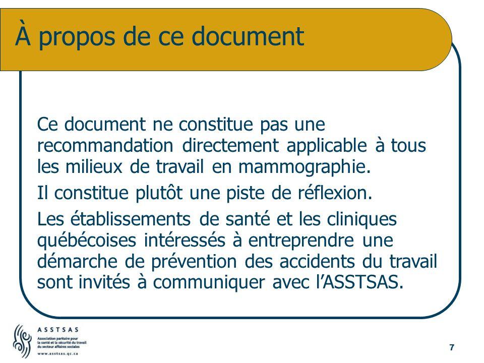 Ce document ne constitue pas une recommandation directement applicable à tous les milieux de travail en mammographie. Il constitue plutôt une piste de