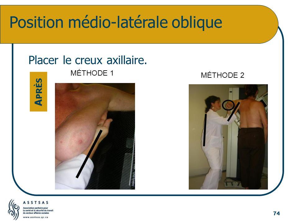 Position médio-latérale oblique Placer le creux axillaire. A PRÈS 74 MÉTHODE 1 MÉTHODE 2
