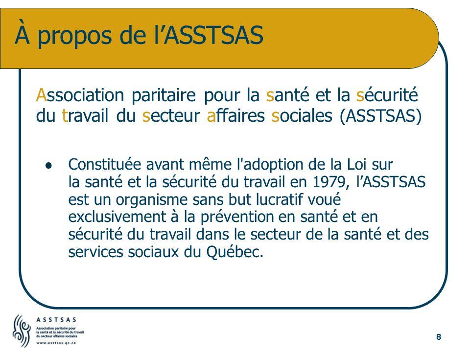 Association paritaire pour la santé et la sécurité du travail du secteur affaires sociales (ASSTSAS) Constituée avant même l'adoption de la Loi sur la