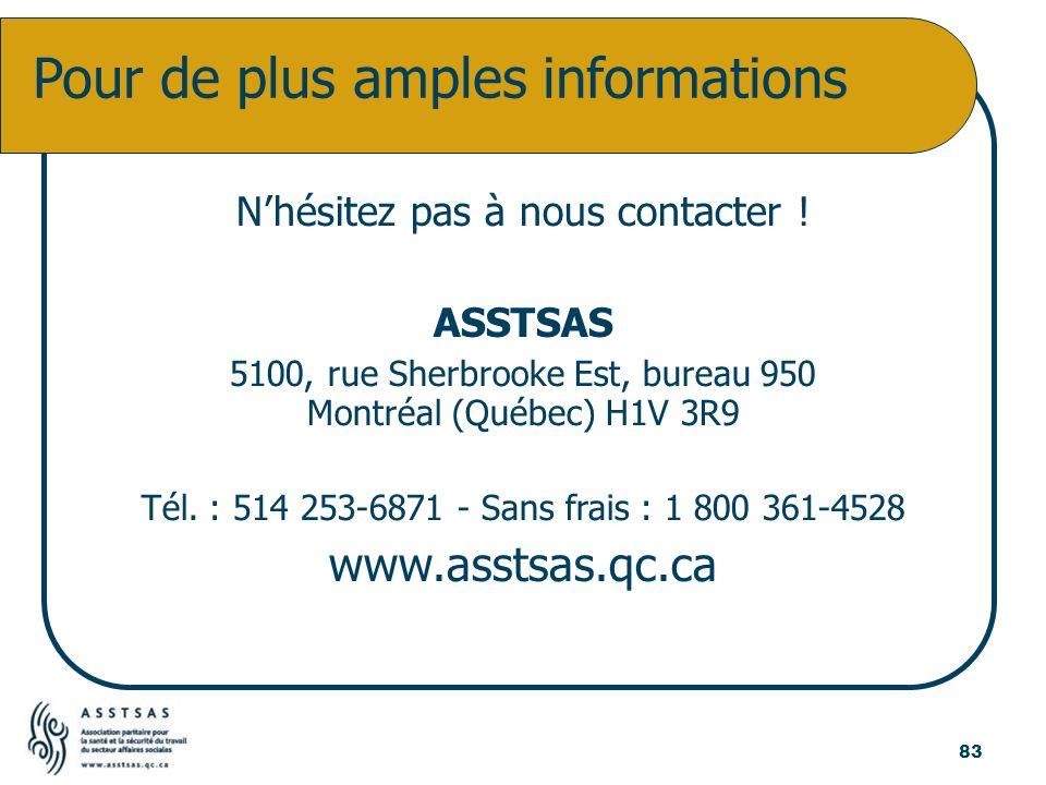 Nhésitez pas à nous contacter ! ASSTSAS 5100, rue Sherbrooke Est, bureau 950 Montréal (Québec) H1V 3R9 Tél. : 514 253-6871 - Sans frais : 1 800 361-45