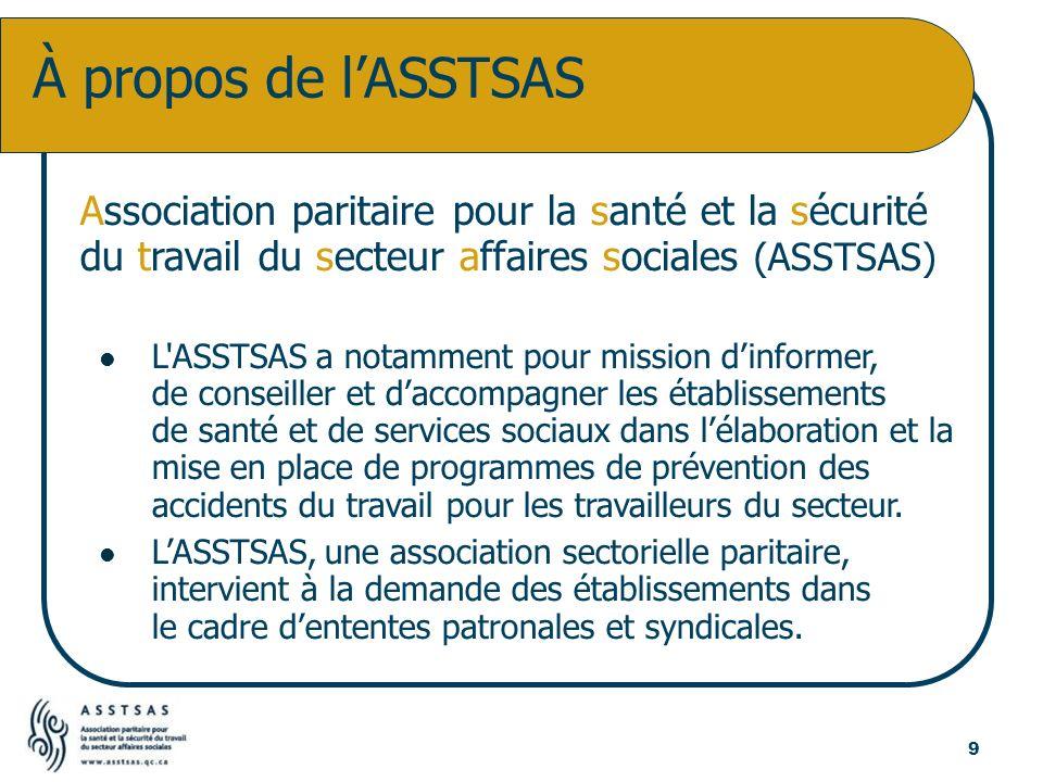 Association paritaire pour la santé et la sécurité du travail du secteur affaires sociales (ASSTSAS) L'ASSTSAS a notamment pour mission dinformer, de
