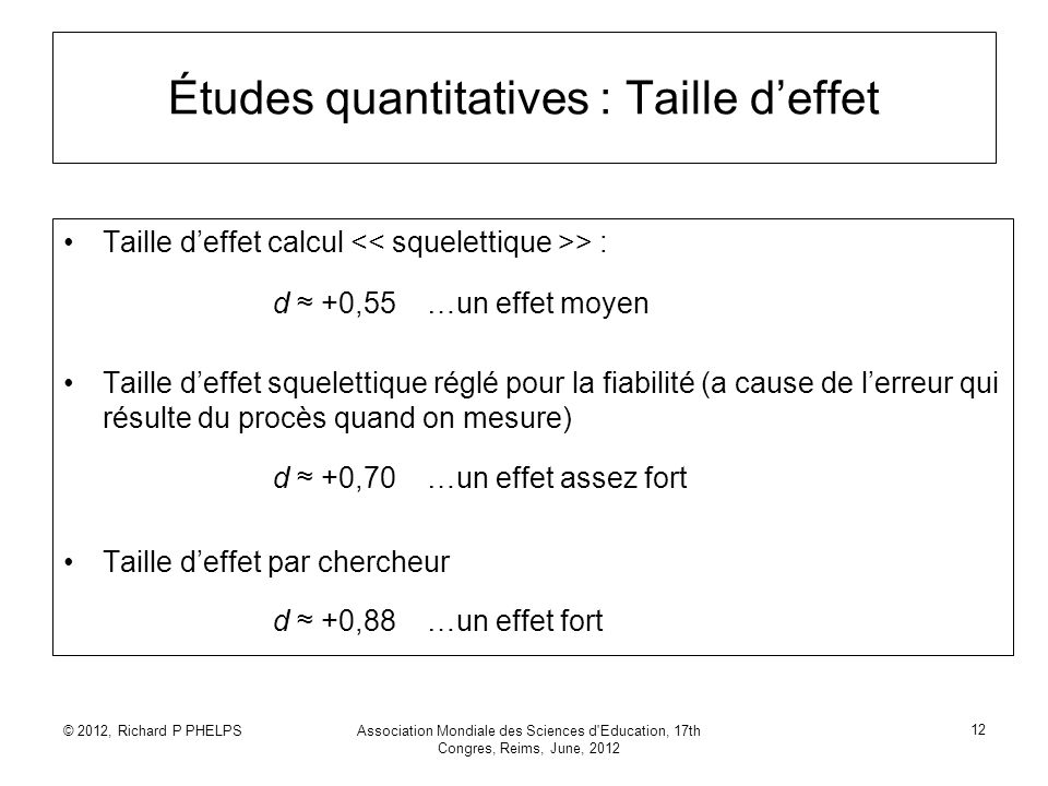 © 2012, Richard P PHELPSAssociation Mondiale des Sciences d'Education, 17th Congres, Reims, June, 2012 12 Études quantitatives : Taille deffet Taille