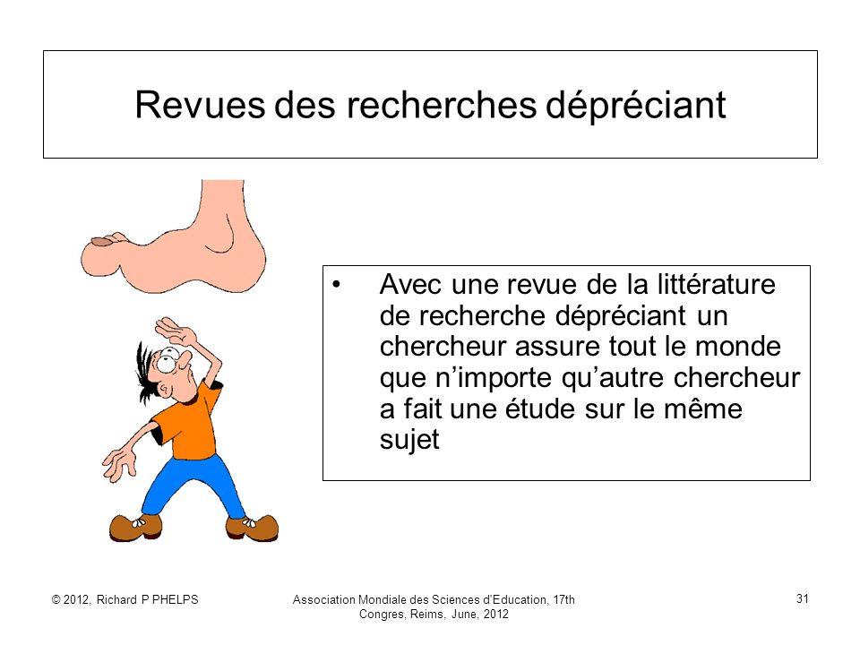 © 2012, Richard P PHELPSAssociation Mondiale des Sciences d'Education, 17th Congres, Reims, June, 2012 31 Revues des recherches dépréciant Avec une re