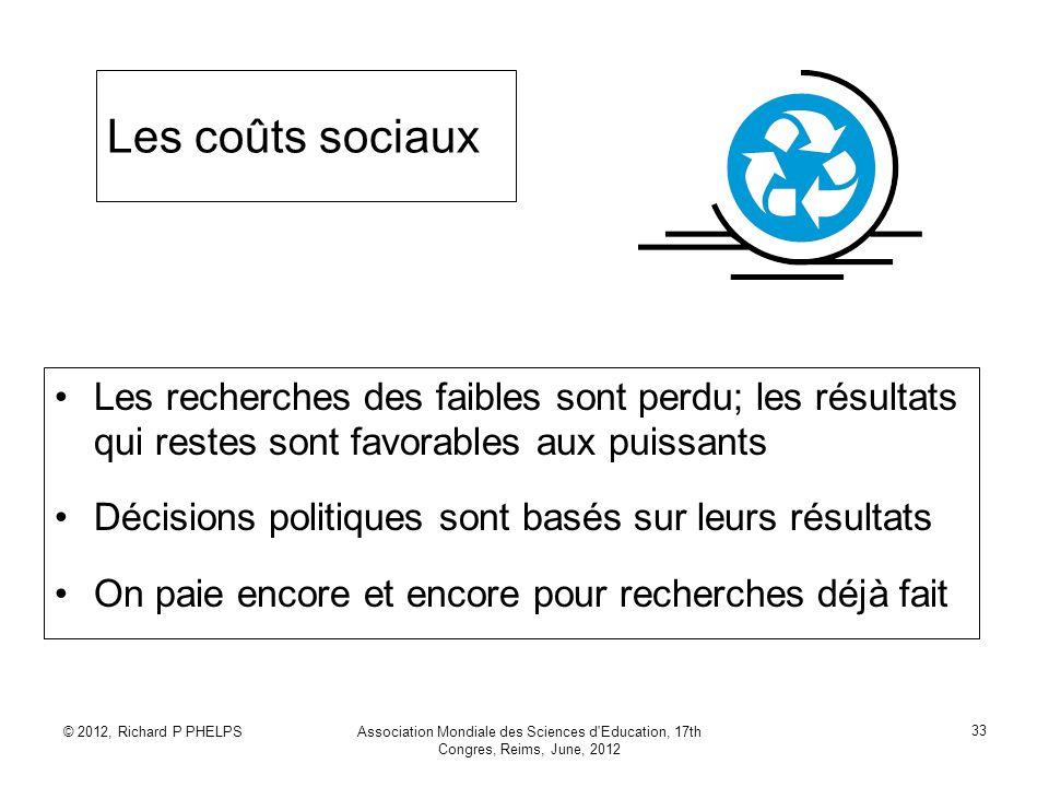 © 2012, Richard P PHELPSAssociation Mondiale des Sciences d'Education, 17th Congres, Reims, June, 2012 33 Les coûts sociaux Les recherches des faibles