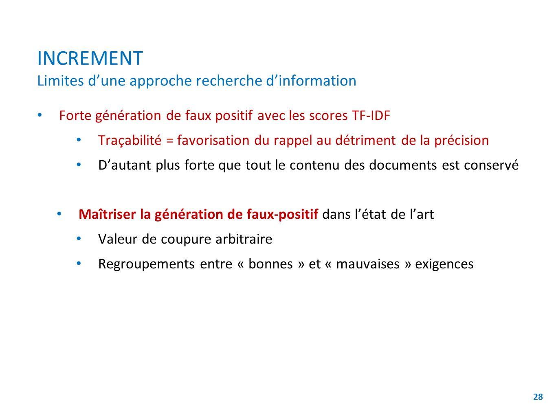 INCREMENT Limites dune approche recherche dinformation Forte génération de faux positif avec les scores TF-IDF Traçabilité = favorisation du rappel au