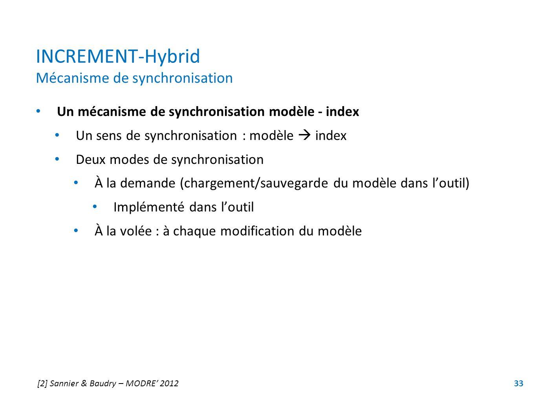 INCREMENT-Hybrid Mécanisme de synchronisation Un mécanisme de synchronisation modèle - index Un sens de synchronisation : modèle index Deux modes de s
