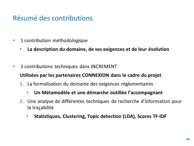 Résumé des contributions 1 contribution méthodologique La description du domaine, de ses exigences et de leur évolution 3 contributions techniques dan