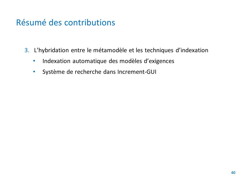 Résumé des contributions 3. 3.Lhybridation entre le métamodèle et les techniques dindexation Indexation automatique des modèles dexigences Système de