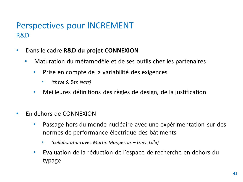 Perspectives pour INCREMENT R&D Dans le cadre R&D du projet CONNEXION Maturation du métamodèle et de ses outils chez les partenaires Prise en compte de la variabilité des exigences (thèse S.