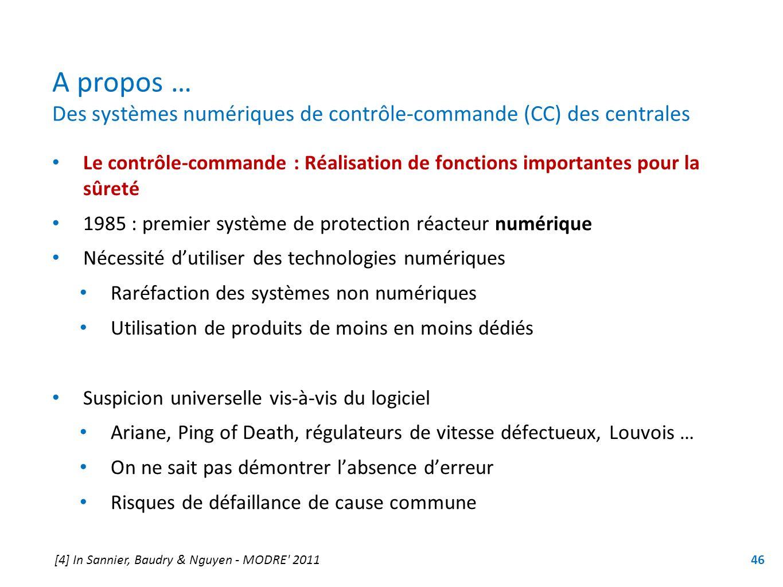 A propos … Des systèmes numériques de contrôle-commande (CC) des centrales Le contrôle-commande : Réalisation de fonctions importantes pour la sûreté