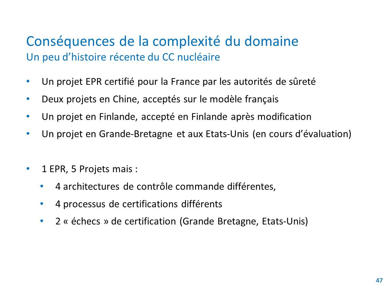 Conséquences de la complexité du domaine Un peu dhistoire récente du CC nucléaire 47 Un projet EPR certifié pour la France par les autorités de sûreté Deux projets en Chine, acceptés sur le modèle français Un projet en Finlande, accepté en Finlande après modification Un projet en Grande-Bretagne et aux Etats-Unis (en cours dévaluation) 1 EPR, 5 Projets mais : 4 architectures de contrôle commande différentes, 4 processus de certifications différents 2 « échecs » de certification (Grande Bretagne, Etats-Unis) [*] Sannier & Baudry - submitted to REFSQ 2014