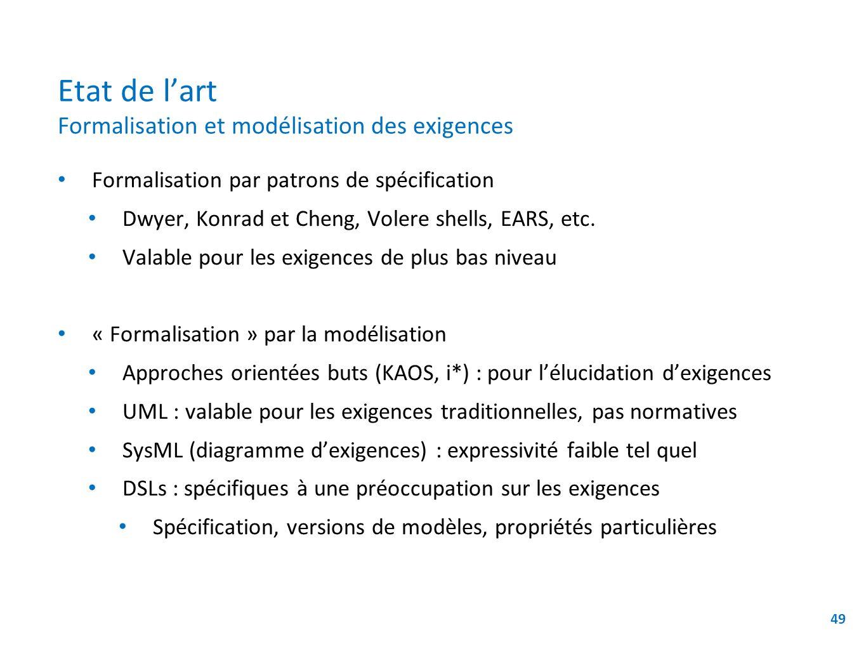 Etat de lart Formalisation et modélisation des exigences Formalisation par patrons de spécification Dwyer, Konrad et Cheng, Volere shells, EARS, etc.