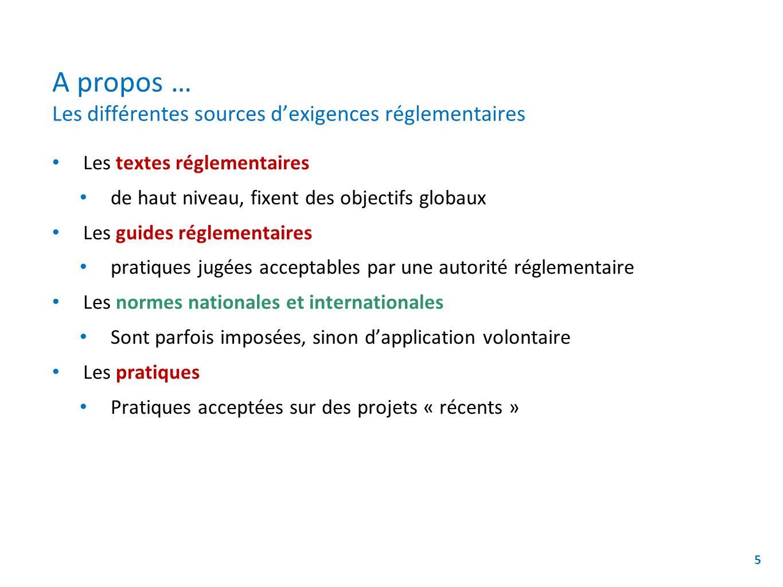 A propos … Les différentes sources dexigences réglementaires Les textes réglementaires de haut niveau, fixent des objectifs globaux Les guides régleme