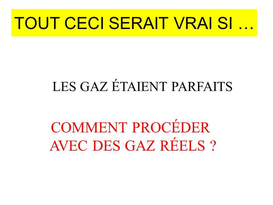TOUT CECI SERAIT VRAI SI … LES GAZ ÉTAIENT PARFAITS COMMENT PROCÉDER AVEC DES GAZ RÉELS ?