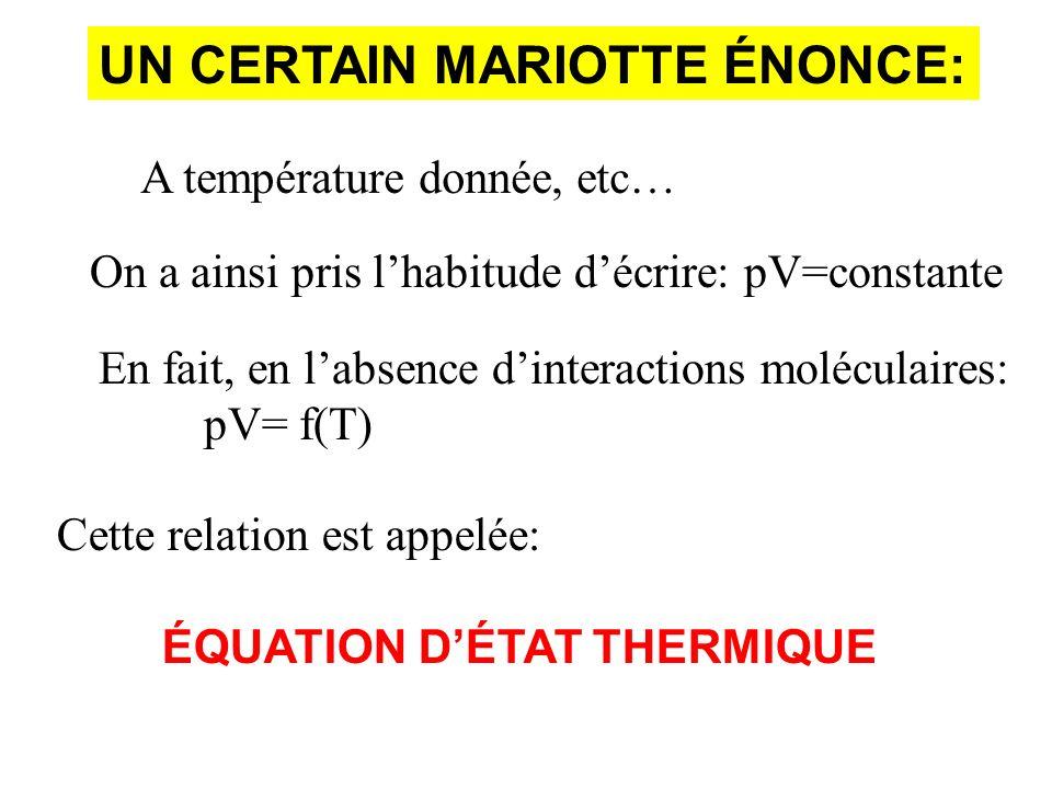 UN CERTAIN MARIOTTE ÉNONCE: A température donnée, etc… On a ainsi pris lhabitude décrire: pV=constante En fait, en labsence dinteractions moléculaires: pV= f(T) Cette relation est appelée: ÉQUATION DÉTAT THERMIQUE