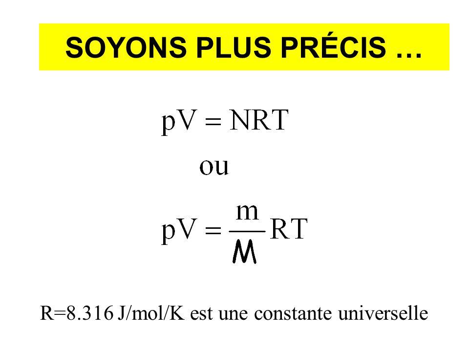 SOYONS PLUS PRÉCIS … R=8.316 J/mol/K est une constante universelle