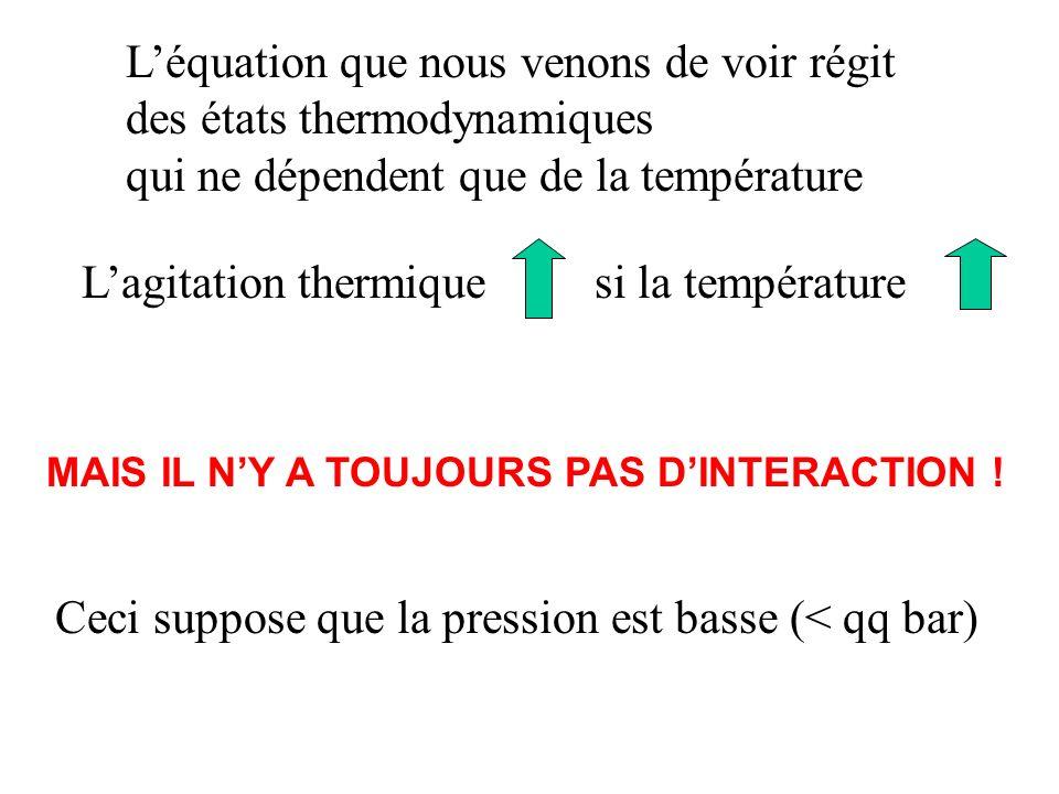 Léquation que nous venons de voir régit des états thermodynamiques qui ne dépendent que de la température Lagitation thermique si la température MAIS IL NY A TOUJOURS PAS DINTERACTION .