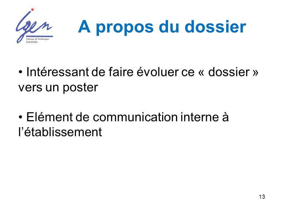 13 A propos du dossier Intéressant de faire évoluer ce « dossier » vers un poster Elément de communication interne à létablissement
