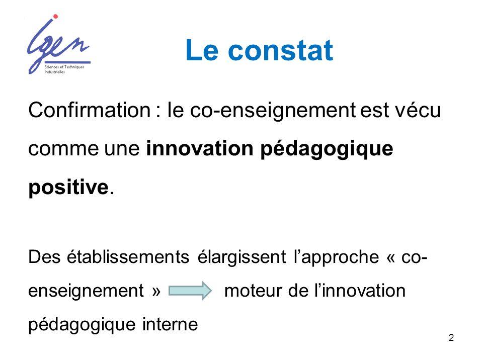 2 Le constat Confirmation : le co-enseignement est vécu comme une innovation pédagogique positive.
