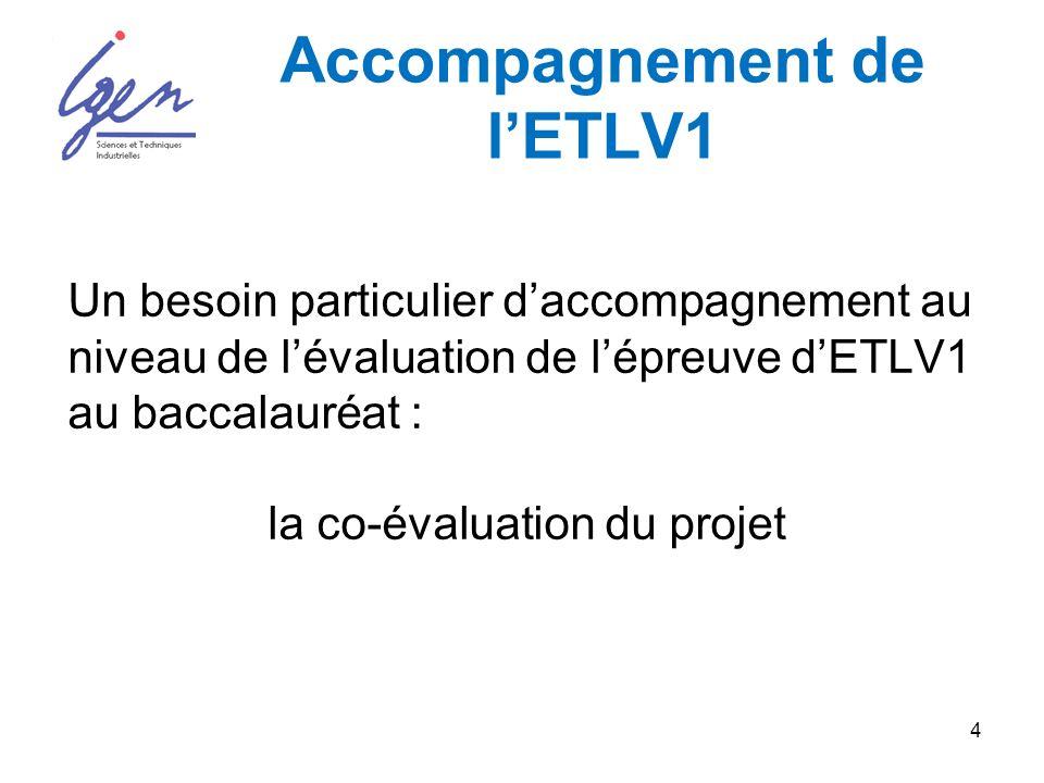 4 Accompagnement de lETLV1 Un besoin particulier daccompagnement au niveau de lévaluation de lépreuve dETLV1 au baccalauréat : la co-évaluation du projet