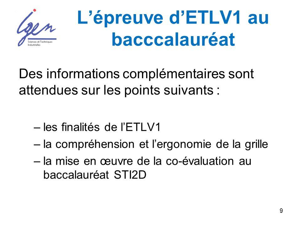 9 Lépreuve dETLV1 au bacccalauréat Des informations complémentaires sont attendues sur les points suivants : –les finalités de lETLV1 –la compréhension et lergonomie de la grille –la mise en œuvre de la co-évaluation au baccalauréat STI2D