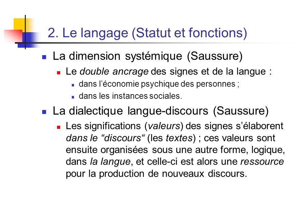 2. Le langage (Statut et fonctions) La dimension systémique (Saussure) Le double ancrage des signes et de la langue : dans léconomie psychique des per