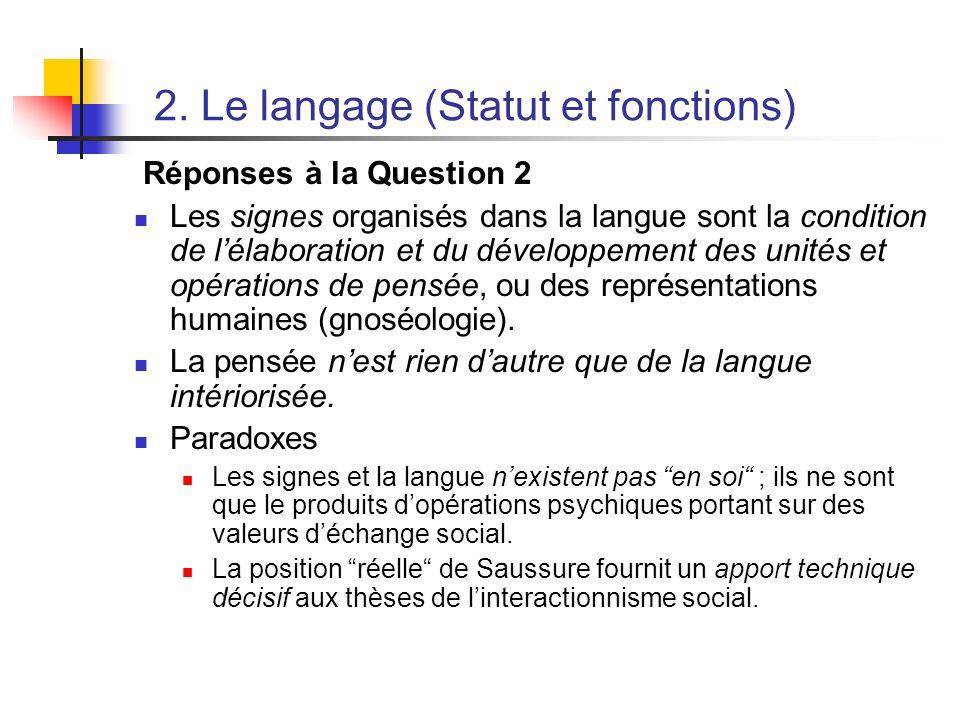 2. Le langage (Statut et fonctions) Réponses à la Question 2 Les signes organisés dans la langue sont la condition de lélaboration et du développement
