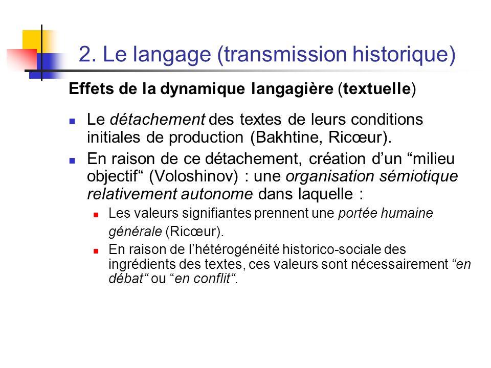 2. Le langage (transmission historique) Effets de la dynamique langagière (textuelle) Le détachement des textes de leurs conditions initiales de produ
