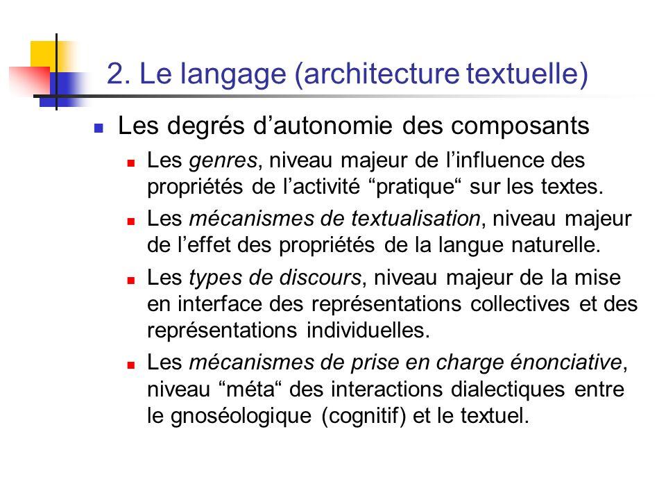2. Le langage (architecture textuelle) Les degrés dautonomie des composants Les genres, niveau majeur de linfluence des propriétés de lactivité pratiq