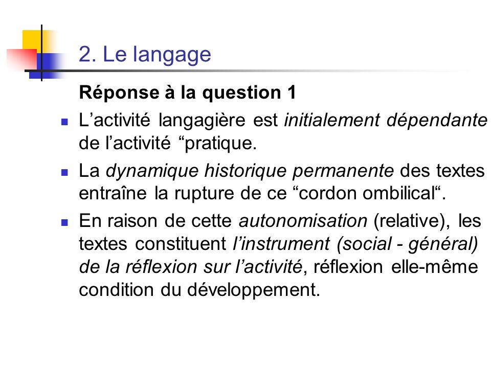 2. Le langage Réponse à la question 1 Lactivité langagière est initialement dépendante de lactivité pratique. La dynamique historique permanente des t