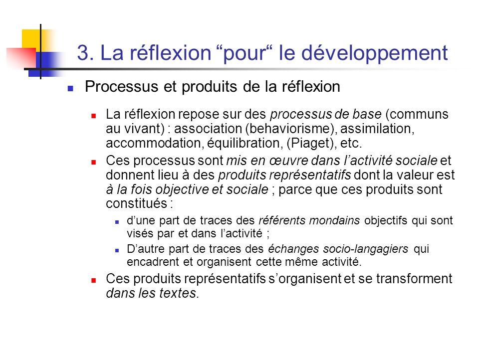 3. La réflexion pour le développement Processus et produits de la réflexion La réflexion repose sur des processus de base (communs au vivant) : associ
