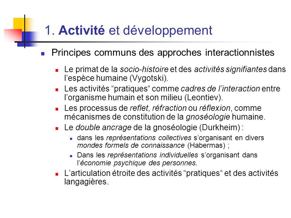 1. Activité et développement Principes communs des approches interactionnistes Le primat de la socio-histoire et des activités signifiantes dans lespè