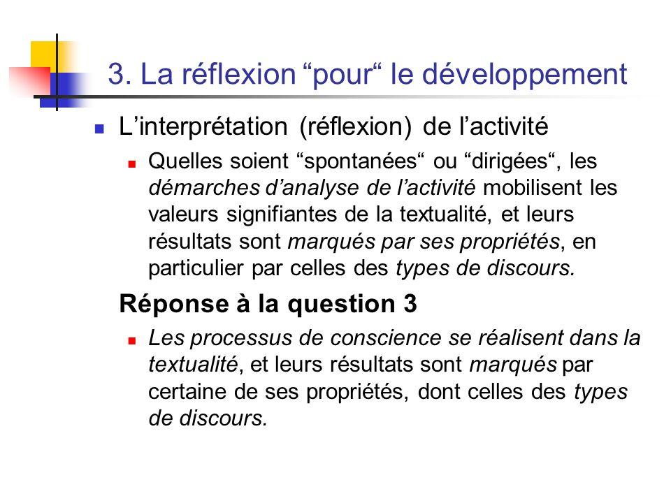 3. La réflexion pour le développement Linterprétation (réflexion) de lactivité Quelles soient spontanées ou dirigées, les démarches danalyse de lactiv