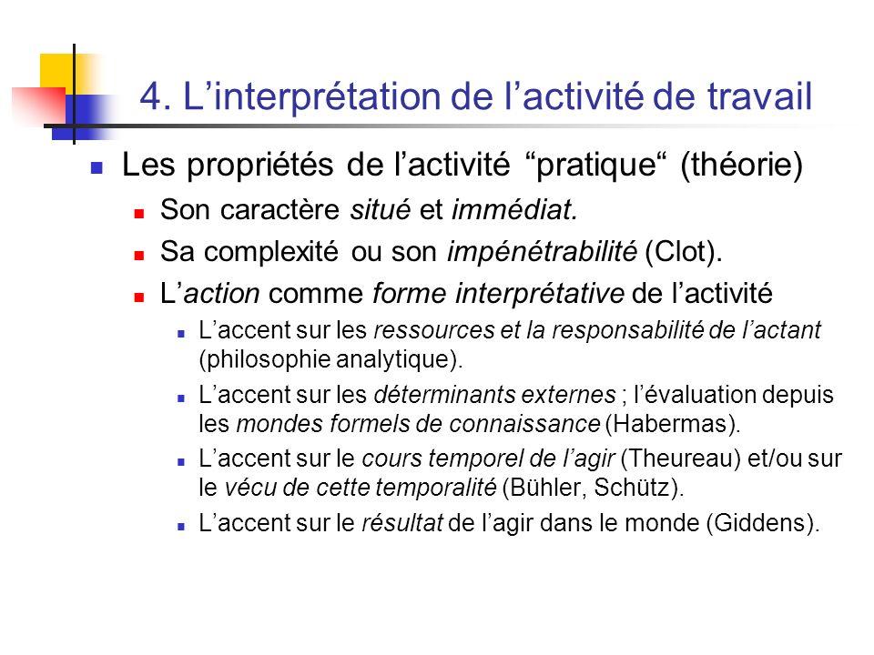 4. Linterprétation de lactivité de travail Les propriétés de lactivité pratique (théorie) Son caractère situé et immédiat. Sa complexité ou son impéné