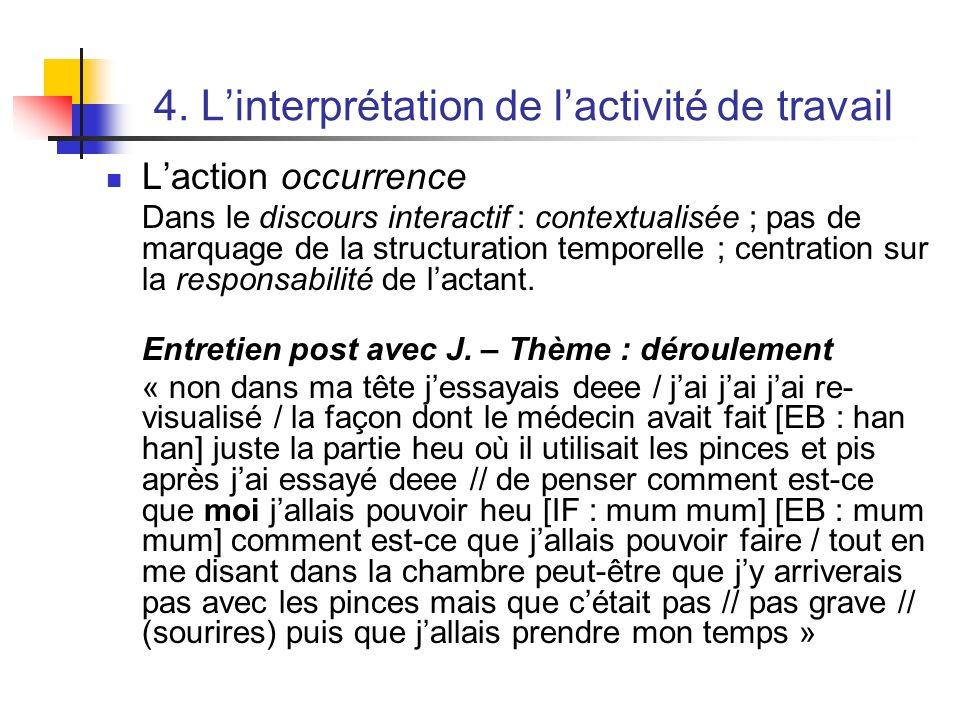 4. Linterprétation de lactivité de travail Laction occurrence Dans le discours interactif : contextualisée ; pas de marquage de la structuration tempo