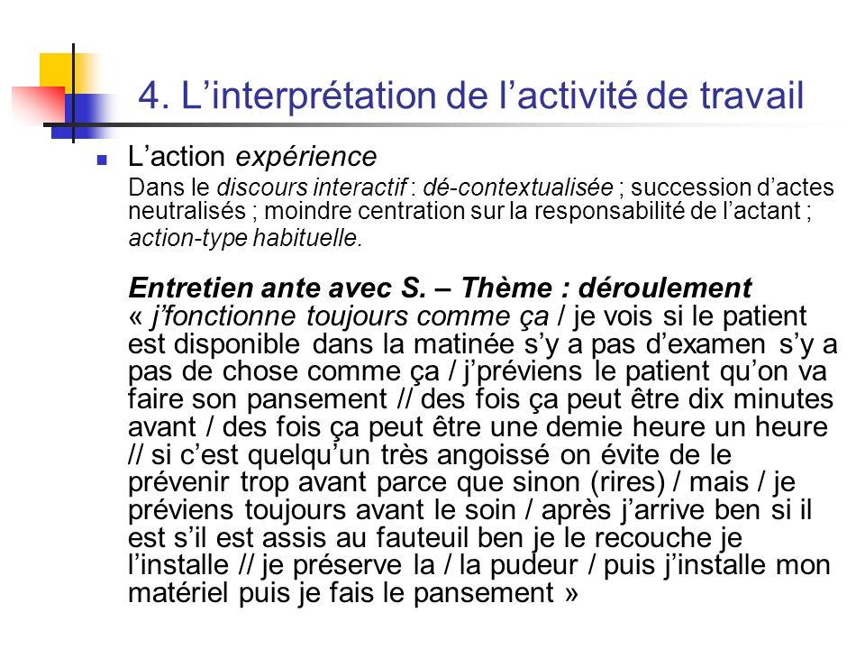 4. Linterprétation de lactivité de travail Laction expérience Dans le discours interactif : dé-contextualisée ; succession dactes neutralisés ; moindr