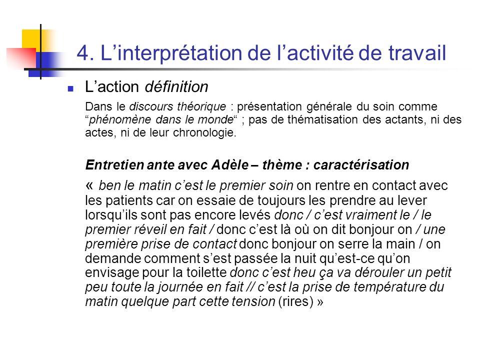 4. Linterprétation de lactivité de travail Laction définition Dans le discours théorique : présentation générale du soin commephénomène dans le monde