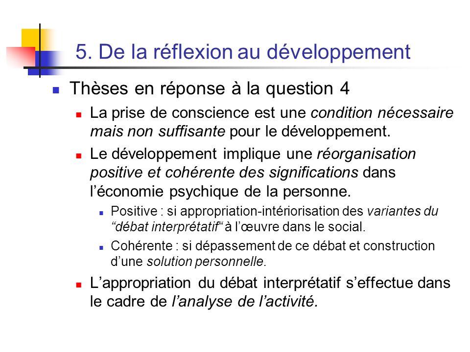 5. De la réflexion au développement Thèses en réponse à la question 4 La prise de conscience est une condition nécessaire mais non suffisante pour le