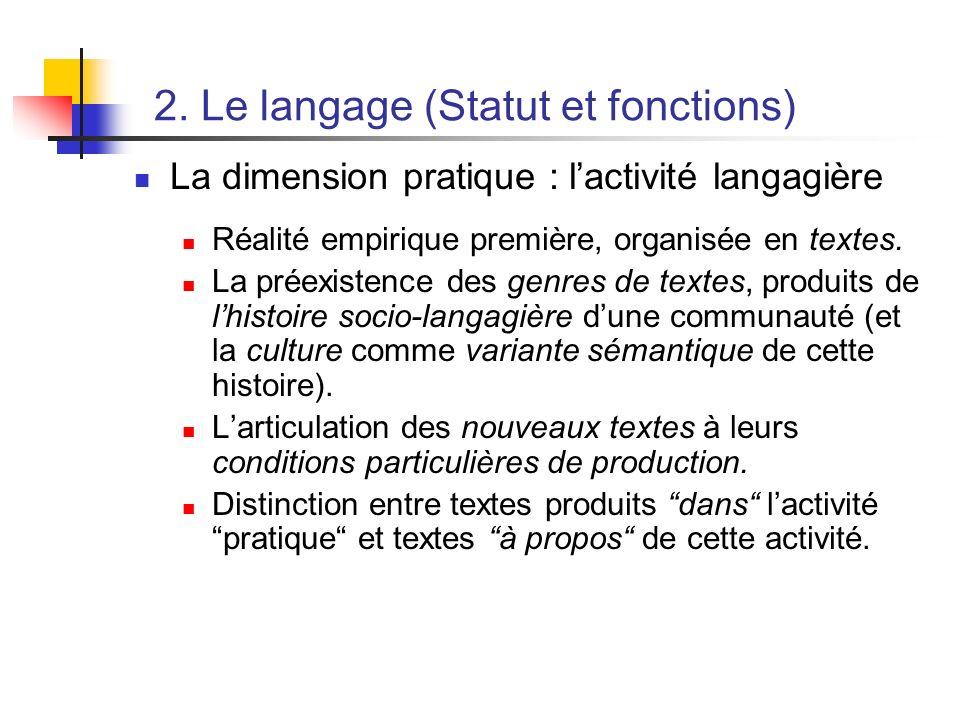 2. Le langage (Statut et fonctions) La dimension pratique : lactivité langagière Réalité empirique première, organisée en textes. La préexistence des