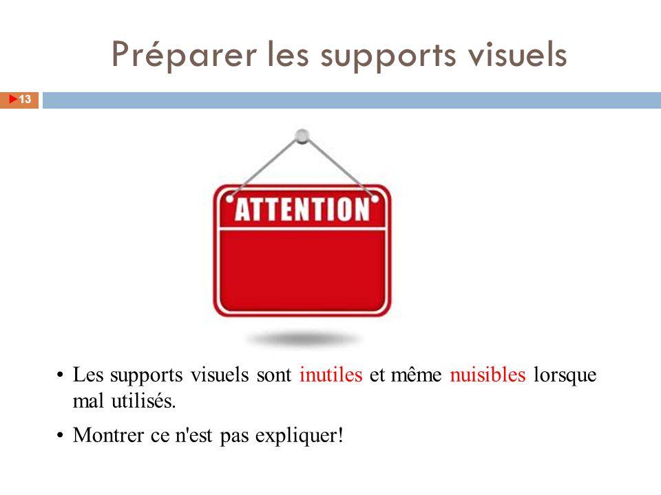 Préparer les supports visuels 13 Les supports visuels sont inutiles et même nuisibles lorsque mal utilisés. Montrer ce n'est pas expliquer!
