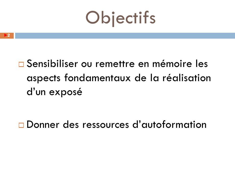 Objectifs 2 Sensibiliser ou remettre en mémoire les aspects fondamentaux de la réalisation dun exposé Donner des ressources dautoformation