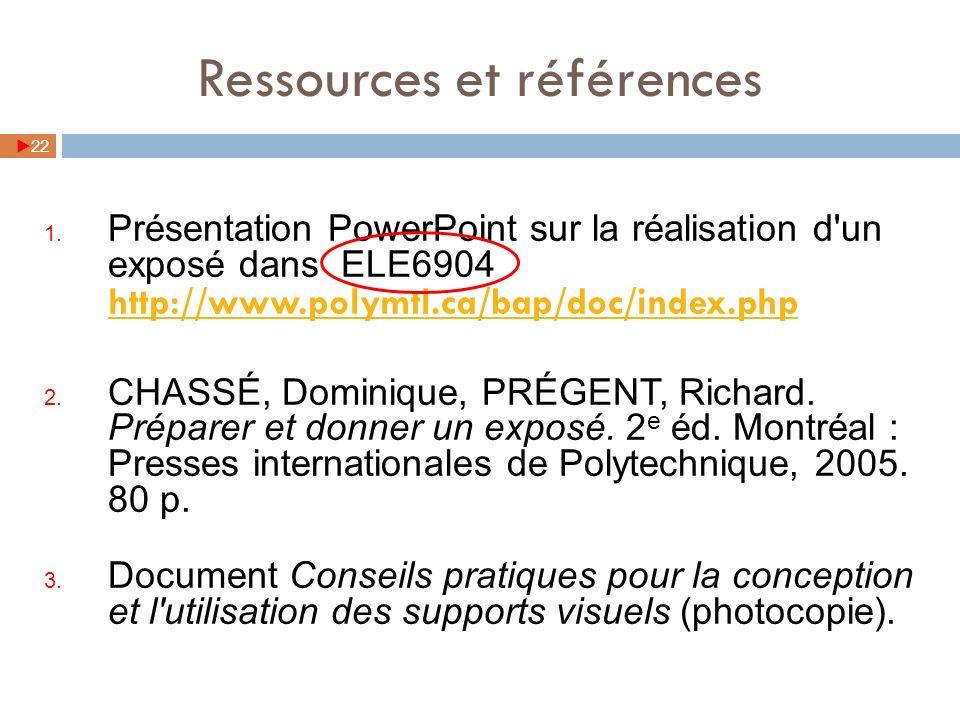 Ressources et références 22 1. Présentation PowerPoint sur la réalisation d'un exposé dans ELE6904 http://www.polymtl.ca/bap/doc/index.php http://www.