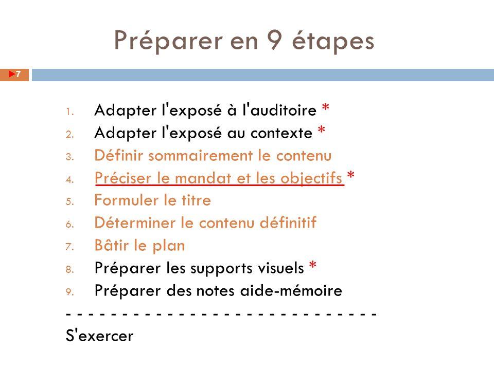 1. Adapter l'exposé à l'auditoire * 2. Adapter l'exposé au contexte * 3. Définir sommairement le contenu 4. Préciser le mandat et les objectifs * 5. F