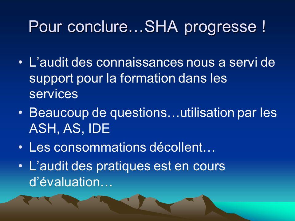 Pour conclure…SHA progresse .