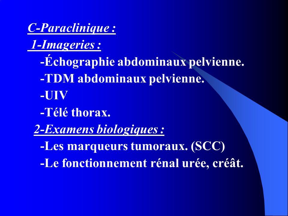 C-Paraclinique : 1-Imageries : -Échographie abdominaux pelvienne. -TDM abdominaux pelvienne. -UIV -Télé thorax. 2-Examens biologiques : -Les marqueurs