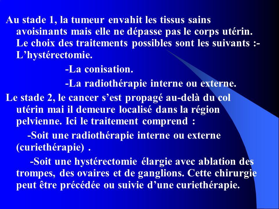 Au stade 1, la tumeur envahit les tissus sains avoisinants mais elle ne dépasse pas le corps utérin. Le choix des traitements possibles sont les suiva