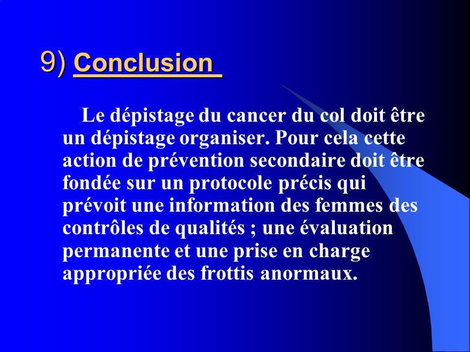 Le dépistage du cancer du col doit être un dépistage organiser. Pour cela cette action de prévention secondaire doit être fondée sur un protocole préc