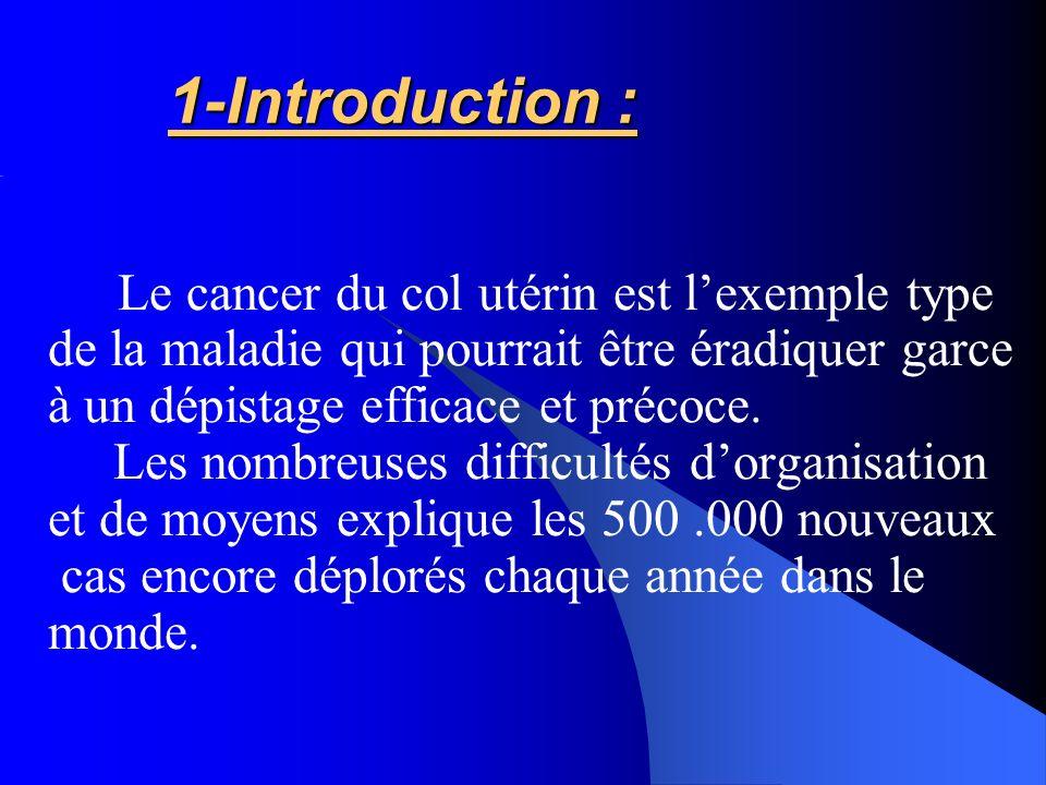 1-Introduction : Le cancer du col utérin est lexemple type de la maladie qui pourrait être éradiquer garce à un dépistage efficace et précoce. Les nom